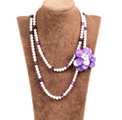 Fantastic Party Style Double Strand Natural White Freshwater Pearl Purple Agate Beads Necklace with Purple Shell Flower Charm