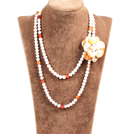 Fantastic Party Style Double Strand Natural White Freshwater Pearl Natural Agate Beads Necklace with Orange Shell Flower Charm