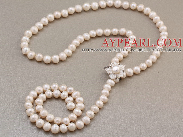 Fashion Long Style 8-9mm Natural White Freshwater Pearl Beads Necklace With Shell Flower Magnetic Clasp