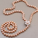 Wholesale Fashion Long Style 8-9mm Natural Pink Freshwater Pearl Beads Necklace With Shell Flower Magnetic Clasp