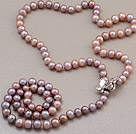 Wholesale Fashion Long Style 8-9mm Natural Purple Freshwater Pearl Beads Necklace With Shell Flower Magnetic Clasp