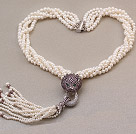 Fashion Multi Twisted Strands Natural White Freshwater Pearl Beads Necklace With Purple Leopard Rhinestones And Tassel Pendants