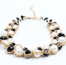 Trendy Style Multi Strand Black Crystal White Acrylic Beads And Freshwater Pearl Necklace With Golden Chain
