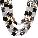 Fashion Three Strands Square Shape Multi Color Crystal Beads Necklace