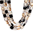Fashion Three Strands Square Shape Multi Colorful Crystal Beads Necklace