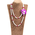 Fantastic Party Style Double Strand Natural White Freshwater Pearl Rose Red Agate Beads Necklace with Purple Shell Flower Charm