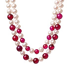 Fashion Double Strands Natural White Freshwater Pearl And Round Rose Agate Knotted Beads Necklace