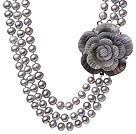 Fashion Three Strands 8-9mm Natural Grey Freshwater Pearl Necklace With Shell Flower Clasp (No Box)