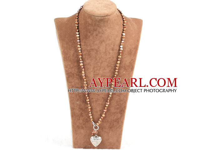 Elegant Simple Natural Brown Freshwater Pearl Alloyed Heart Pendant Necklace