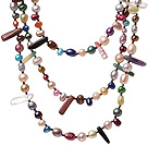 Fashin Three Strands Multi Colorful Pearl And Irregular Stone Necklace With Hook Clasp (No Box)