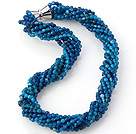 Nice Multi Twisted Strands 4mm Faceted Blue Agate Beads Necklace With Magnetic Clasp