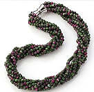 Fashion Multi Twisted Strands 4mm Faceted Zoisite Stone Beads Necklace With Magnetic Clasp