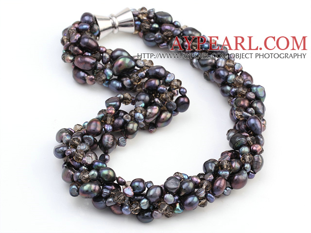 Popular Multi Twisted Strands Black Freshwater Pearl And Smoky Quartz Necklace With Magnetic Clasp