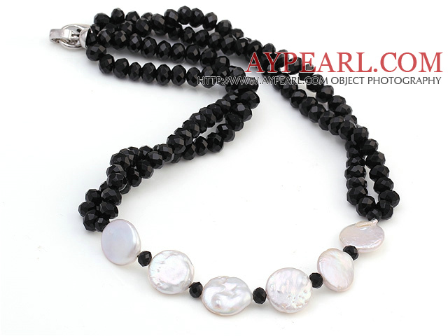 Lovely White Coin Pearl And Faceted Black Crystal String&Strand Necklace