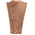Fashion Large Loop Wired Crochet Natural Agate Chips Wishing Tree Pendant Necklace With Alloyed Chain