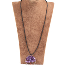 Fashion Large Loop Wired Crochet Natural Amethyst Chips Wishing Tree Pendant Necklace With Black Chain