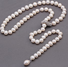 Nice Natural 8-9mm White Freshwater Pearl Beads Necklace With Rhinestone Metal Clasp