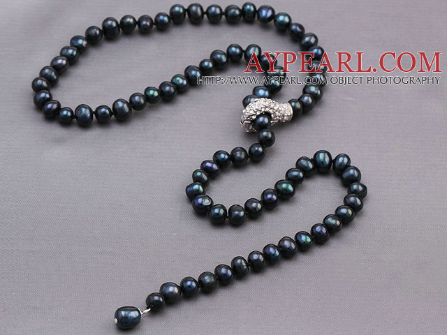 Nice Natural 8-9mm Black Freshwater Pearl Beads Necklace With Rhinestone Metal Clasp