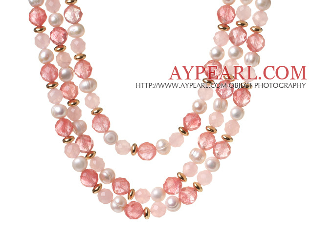 Popular Three Strands White Freshwater Pearl And Faceted Rose Cherry Quartz Beads Necklace