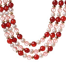 Wholesale Popular Three Strands White Freshwater Pearl And Faceted Red Agate Cherry Quartz Beads Necklace
