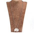 Fashion Large Loop Wired Crochet Natural White Shell Chips Wishing Tree Pendant Necklace With Alloyed Chain