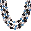 Popular Three Strands White Freshwater Pearl And Round Blue Black Agate Beaded Necklace