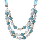 Wholesale Elegant Three-Layer White Freshwater Pearl And Sponge Aquamarine Necklace With Green Suede Cords