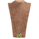 Fashion Large Loop Wired Crochet Natural Olivine Stone Chips Wishing Tree Pendant Necklace With Alloyed Chain