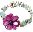 Nice Wired Crochet Multilayer Mixed Amazon And Purple Shell Amethyst Flower Necklace