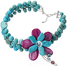 Nice Wired Crochet Multilayer Blue And Green Turquoise And Purple Shell Crystal Flower Necklace