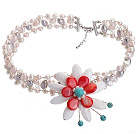 Wholesale Fashion Wired Crochet Multilayer Multi Color Freshwater Pearl And White Red Shell Flower And Turquoise Necklace