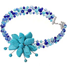 Wholesale Fashion Wired Crochet Multilayer Blue Series Crystal And Turquoise Flower Party Necklace