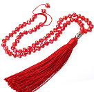 Lovely 8mm provocate de om Red Crystal colier Strand Cu Red filet Tassel pandantiv