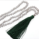 Lovely 8mm Manmade White Crystal Strand Necklace With Green Threaded Tassel Pendant