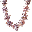 Beautiful Single Strand Natural Purple Irregular Blister Freshwater Pearl Necklace