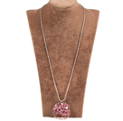 Fashion Large Loop Wired Crochet Natural Cherry Quartz Chips Wishing Tree Pendant Necklace With Alloyed Chain