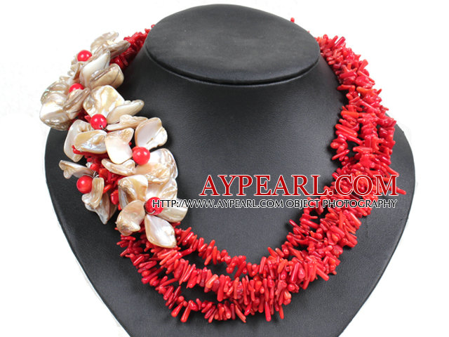 Collier Fleur Shell fantastique Belle Twisted multi Strand Red Coral Chips africaine mariage naturel