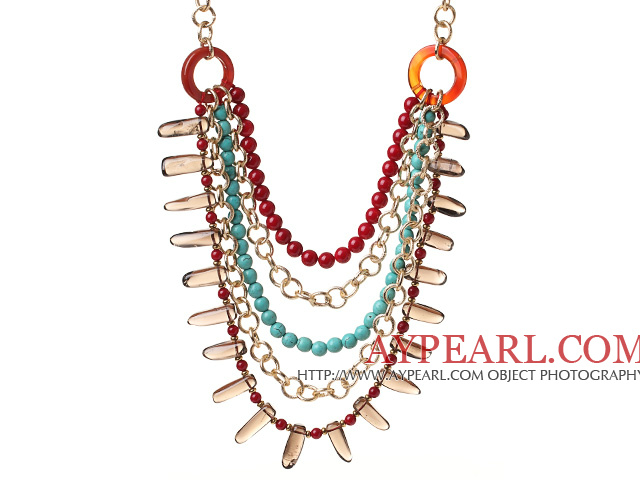 Fashion Multilayer Round Red Coral Blue Turquoise And Smoky Quartz Loop Chain Link Necklace