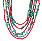 Fashion Multi Strands Green Turquoise And Round Red Coral Necklace With Magnetic Clasp