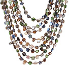 Popular Multilayer Multi Mixed Colorful Shell Necklace With Hollow Ring Closure