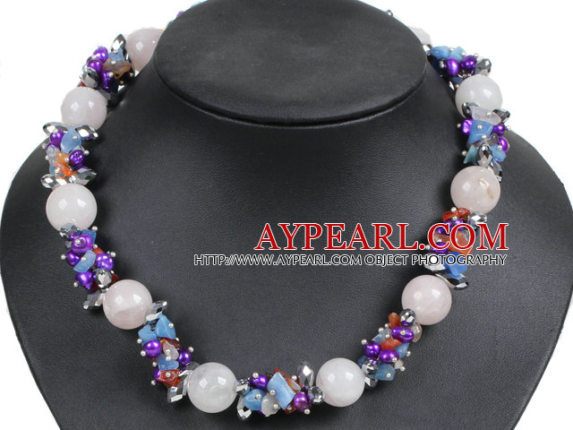 Hot Sale Gorgeous Round Rose Quartz Beads Cluster Purple Pearl Multi Color Stone Beads Choker Necklace