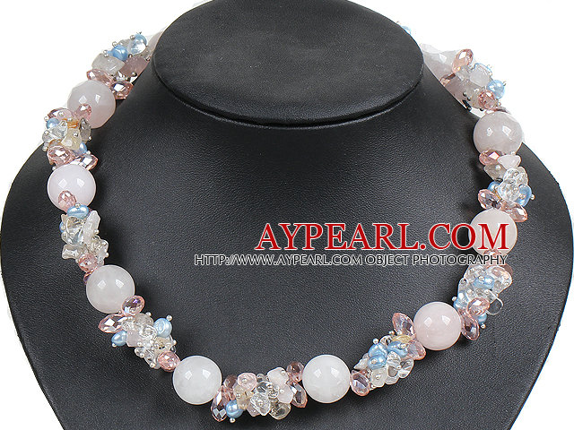 Fashion Three Strands Natural Freshwater And Coin Pearl Necklace With Shell Flower Clasp