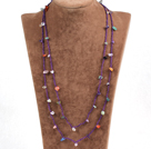 Pretty New Long Style Multi Color Gemstone Chips Purple Thread Necklace(Also can be Bracelet)