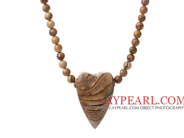 Lovely Single Strand Round Picture Jasper Necklace With Heart Shape Pendant