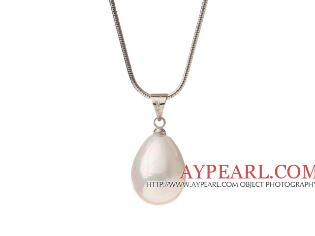 Lovely White Teardrop Seashell Pearl Dangling Pendant Metal Chain Necklace With Lobster Clasp