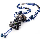 Fashion Multi Strands Round Blue Agate And Black Shell Pearl Flower Pendant Necklace