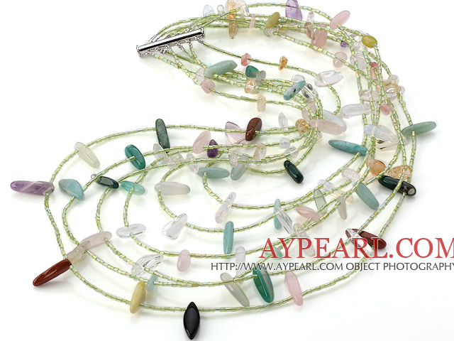 Fashion Multi Strand Crystal Aventurine Rose Quartz Citrine Chips Gemstone Necklace