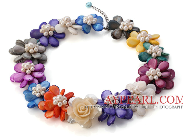 Nice Natural White Freshwater Pearl And Multi Colorful Shell Flower Necklace With Extendable Chain