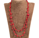 Pretty New Long Style Red Coral Chips Red Thread Necklace(Also can be Bracelet)