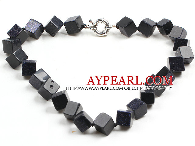 Fashion Simple Style Cube Shape Blue Sand Stone Necklace with Moonlight Clasp
